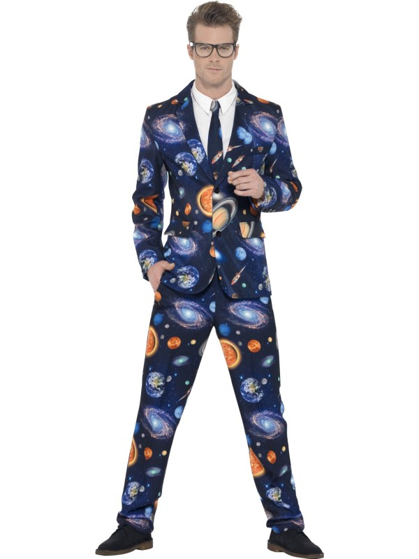 Adults Outer Space Suit Trousers Jacket Tie Mens Stag