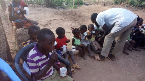 feeding extra number of orphans who joined us