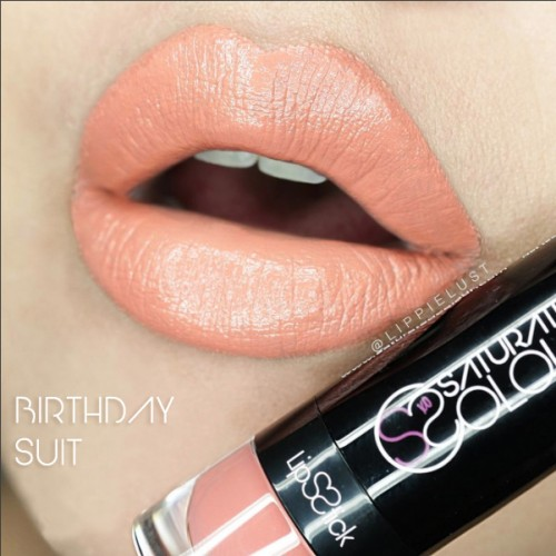 Saturated colour lipstick birthday suit