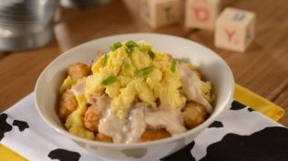 Breakfast Bowl with Tater Tots, Briskey Country Gravy and Scrambled Eggs