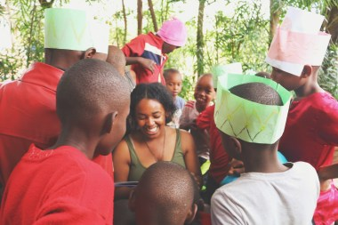 Intern Jacqueline Jones reading to children during conference