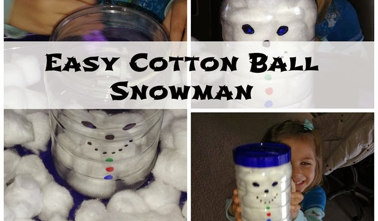 Easy Cotton Ball Snowman