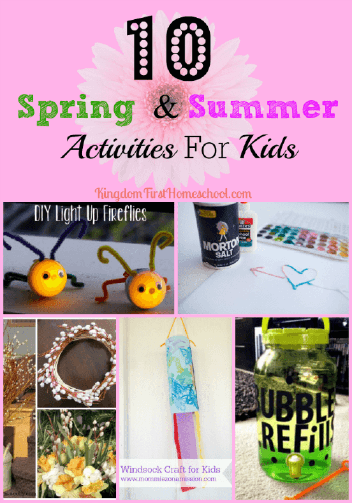 Are you looking for some Spring & Summer Activities for kids? There is no better time to create than this. I don't know about yours, but my kids are always wanting to do pretty crafts & fun outdoor activities this time of year. Enjoy these awesome 10 Spring and Summer craft ideas.