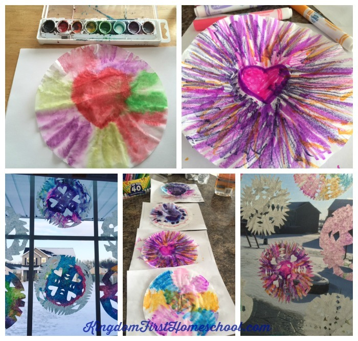 Getting stuck inside in the winter, we all know that you cannot have enough winter crafts. Have a blast making this activity with the kids.  Here is a tutorial that will show you 2 Ways to Make Colorful Coffee Filter Snowflakes.