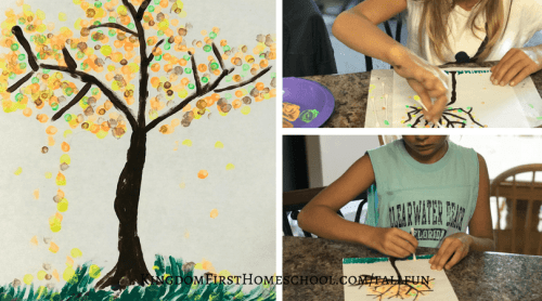 Simple Fall Tree Painting with Q-Tips