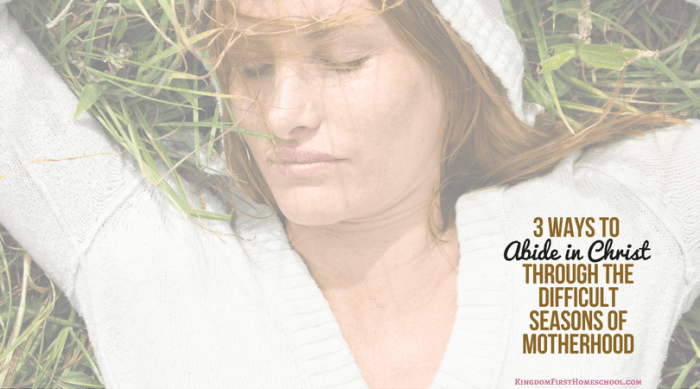 3 Ways to to Abide in ChristThrough the Difficult Times of Motherhood