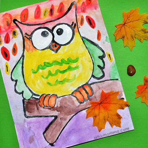 Fall Owl Watercolor Art