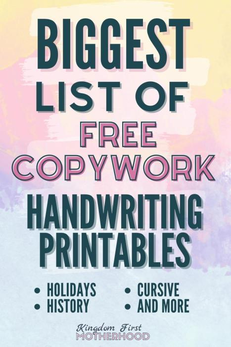 The Biggest List Of Free Copywork Pages And Handwriting Printables