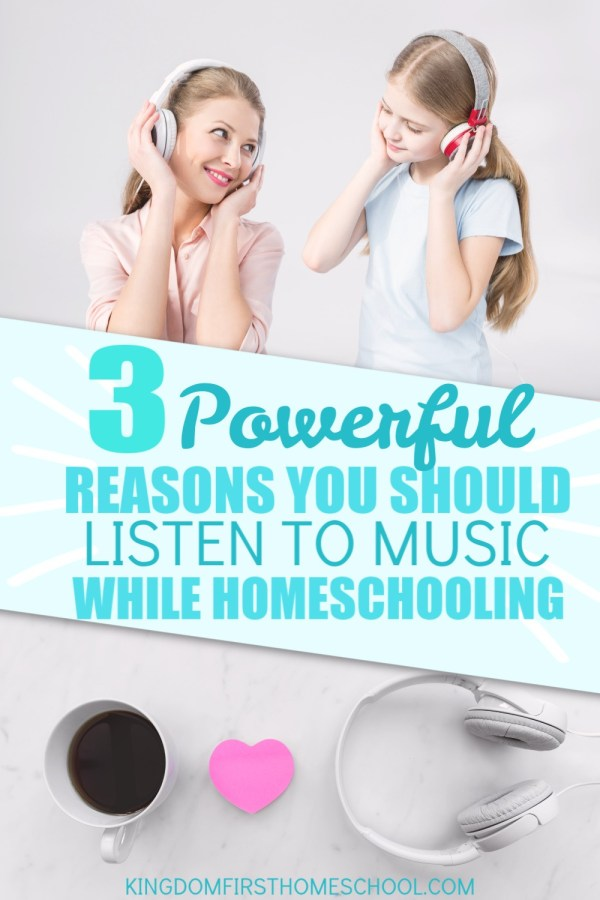 3 Powerful reasons you should listen to music while you homeschool...Not listening to music while you homeschool? You could be missing out on some really amazing mental, spiritual and emotional benefits. Learn more about why you should turn on the tunes while you homeschool today.