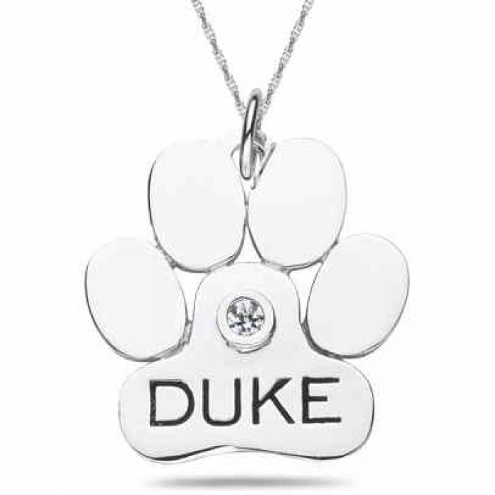 Necklaces : Personalized Dog Paw Pendant in 10K or 14K