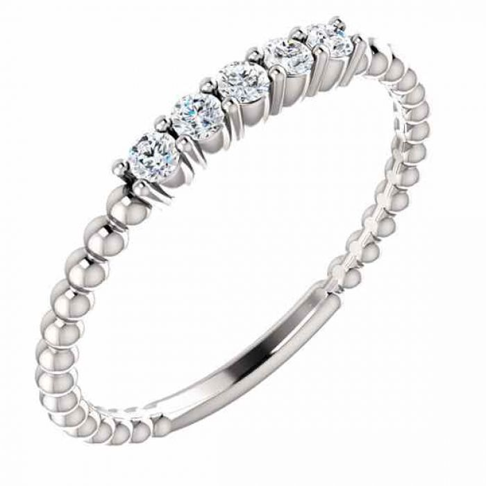 Rings : White Topaz Stackable Bead Ring in 14K White Gold