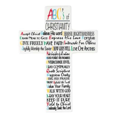 Crosses, Crucifixes : Wall Cross Porcelain 9.5 Inch ABC s