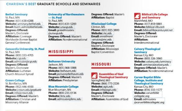 Charisma's Best Graduate Schools and Seminaries 2014