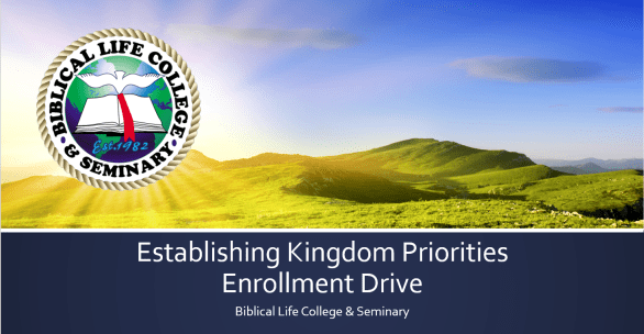 Kingdom Priorities Enrollment Drive