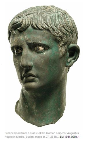 الرأس البرونزي للإمبراطور الروماني أغسطس في المتحف البريطاني
