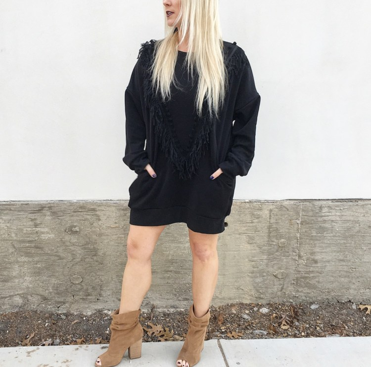 fringe Sweatshirt dress