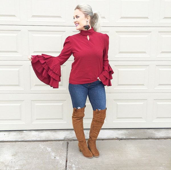 burgundy bell sleeves & otk boots