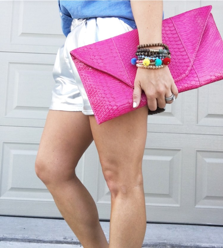 how to style metallic shorts