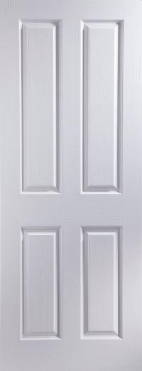 4 Panel Pre-Painted White Woodgrain Unglazed Internal ...