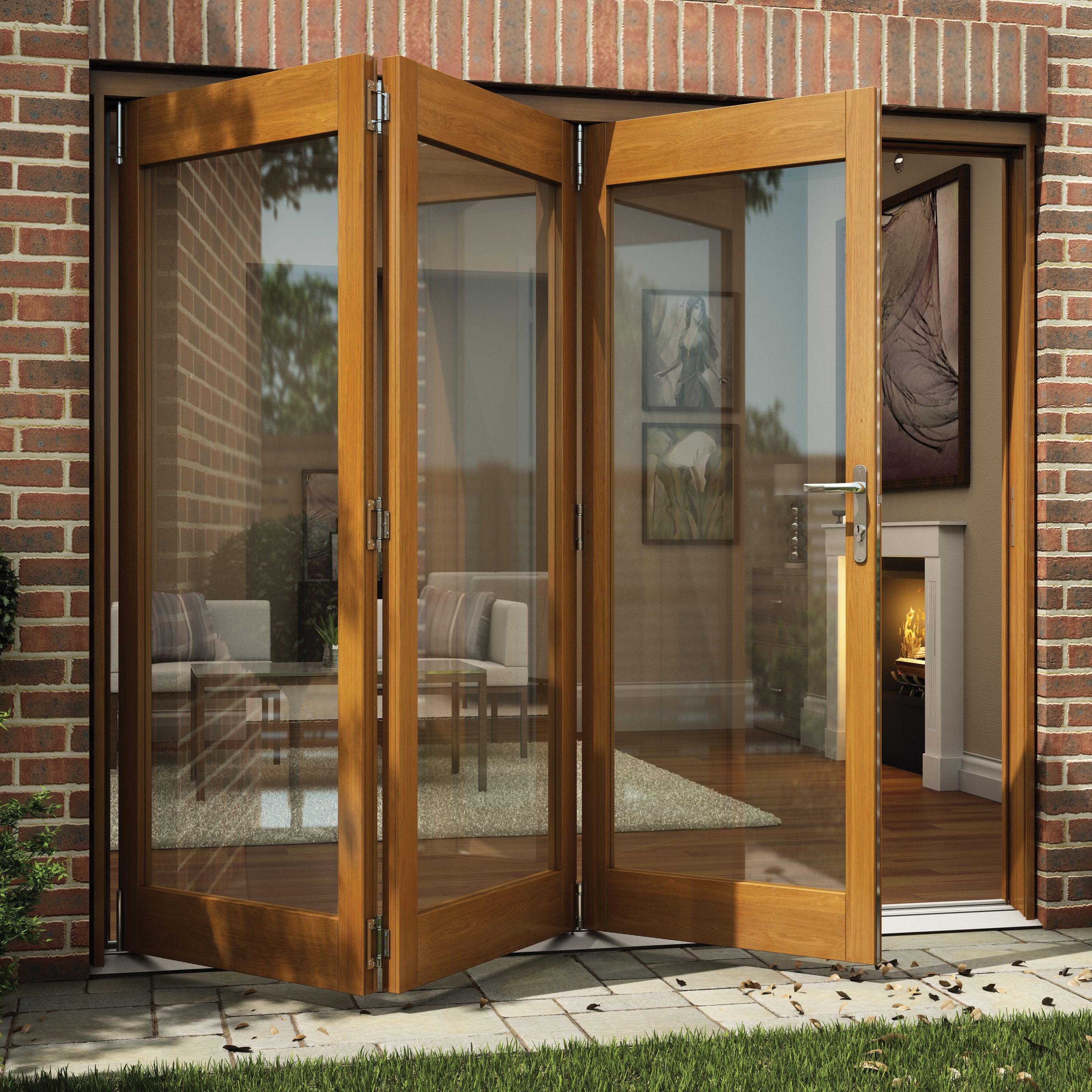 Oak veneer Glazed Folding Patio door, (H)2105mm (W)2405mm