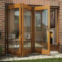 Oak veneer Glazed Folding Patio door, (H)2105mm (W)2405mm ...