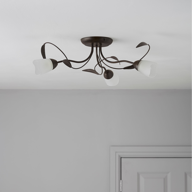 b&q kitchens upholstered kitchen bench cloe brown bronze effect 3 lamp ceiling light ...