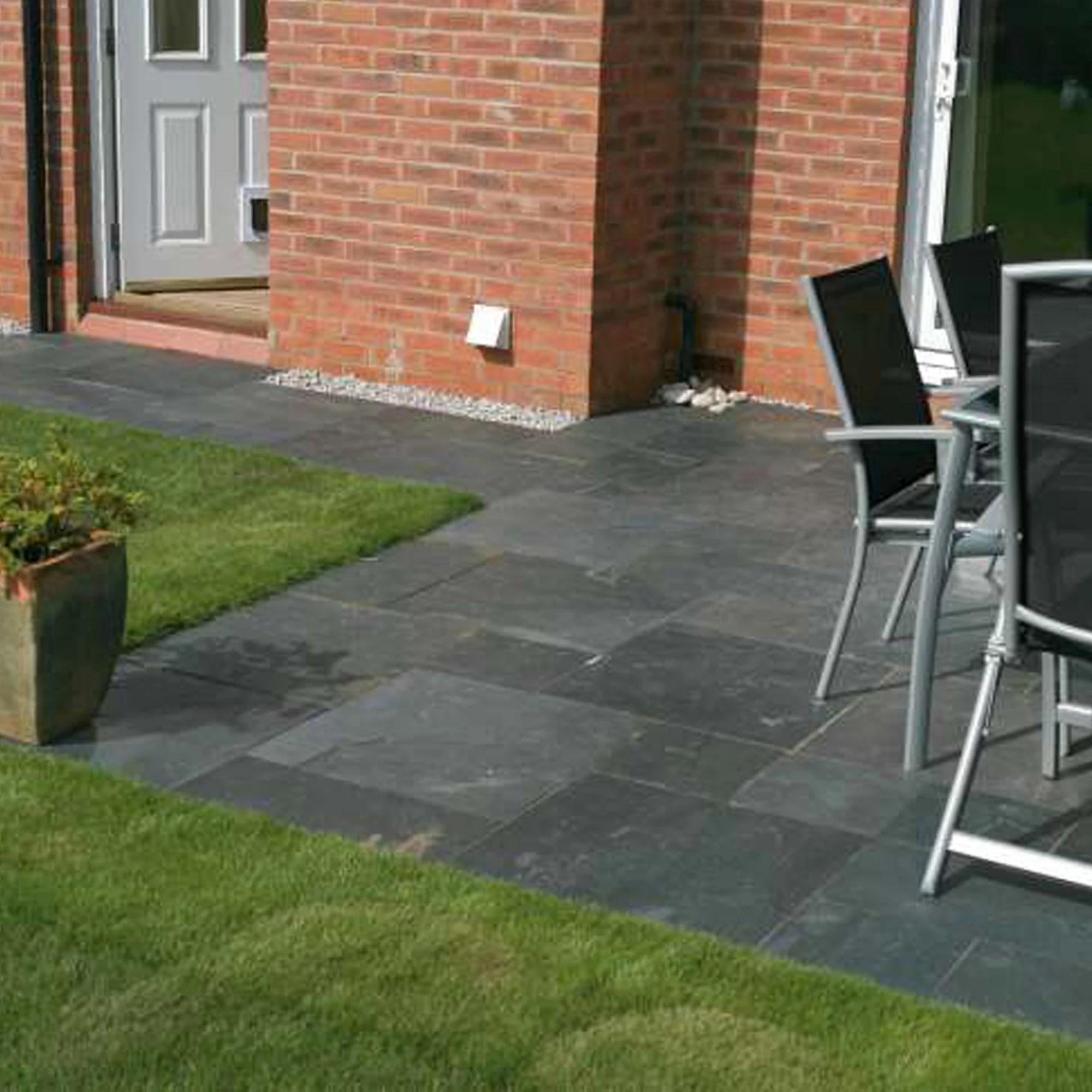 outdoor kitchen kit sink faucets slate grey natural paving | departments diy at b&q
