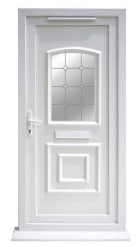 Ashgrove White PVCu Glazed External Front Door & Frame Rh ...