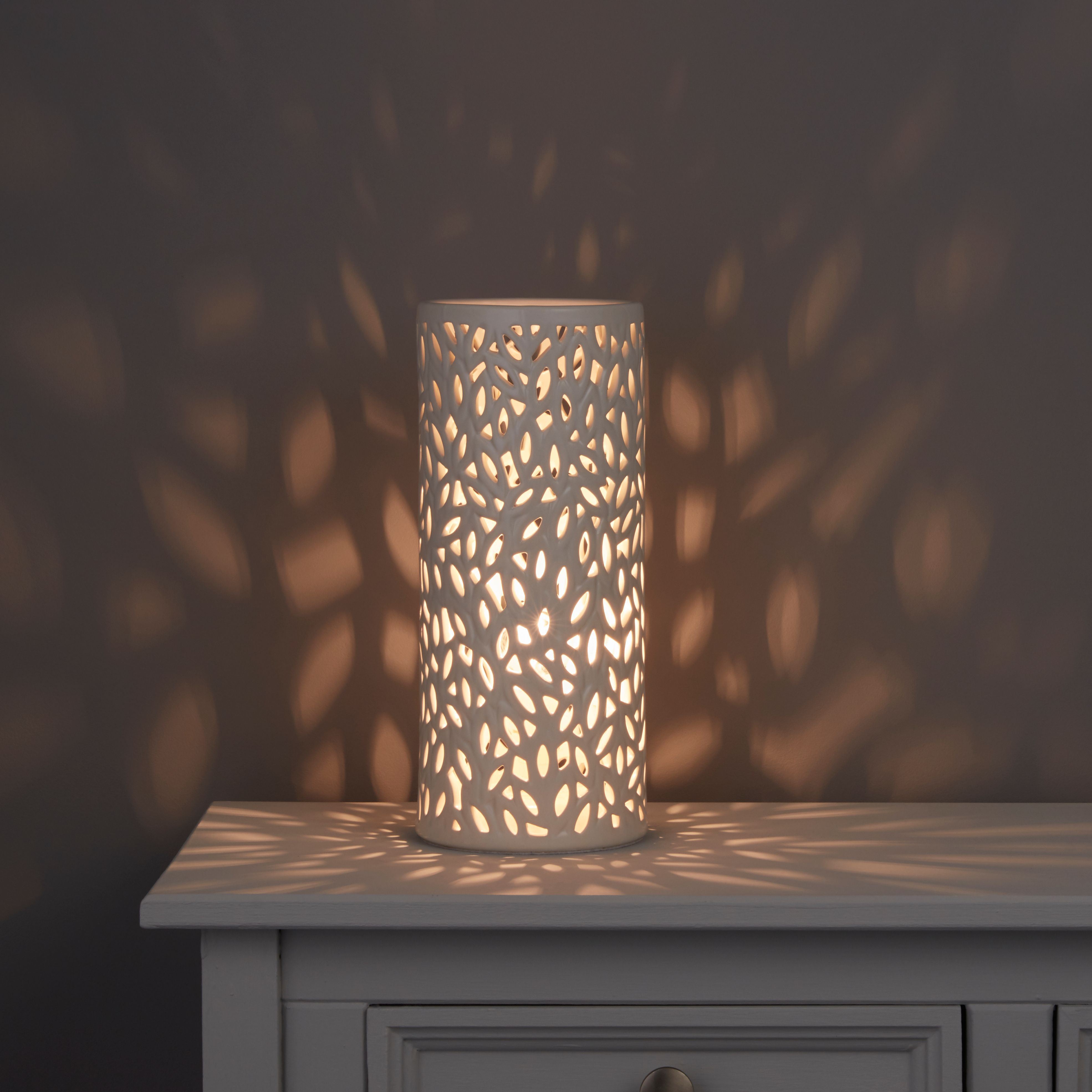 kitchen table with leaf contractors cyro cutout cream ceramic lamp | departments ...