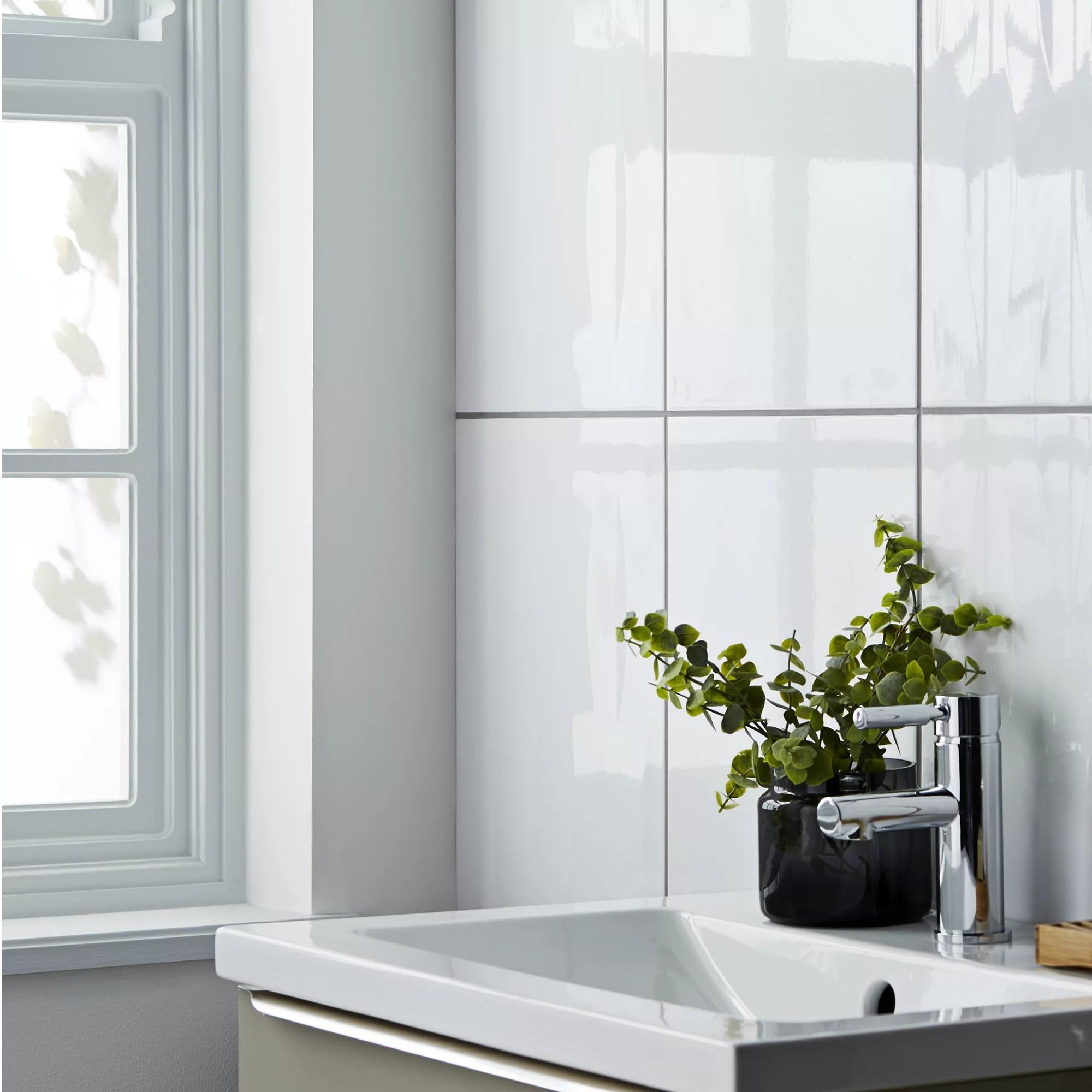 mini kitchen appliances cherry brook perouso white gloss plain ceramic wall tile, sample, (l ...