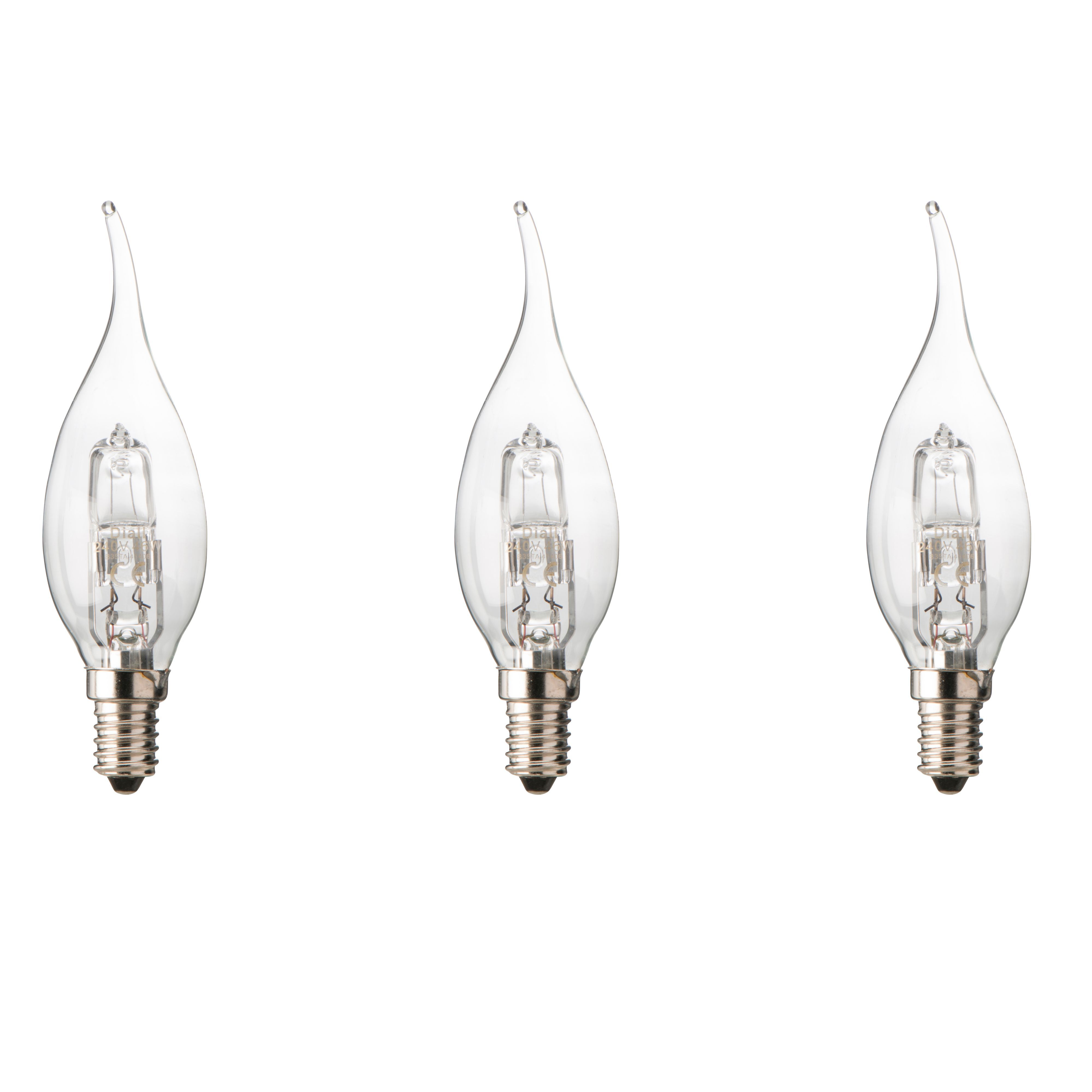 Diall E14 46W Halogen Dimmable Candle bent tip Light bulb