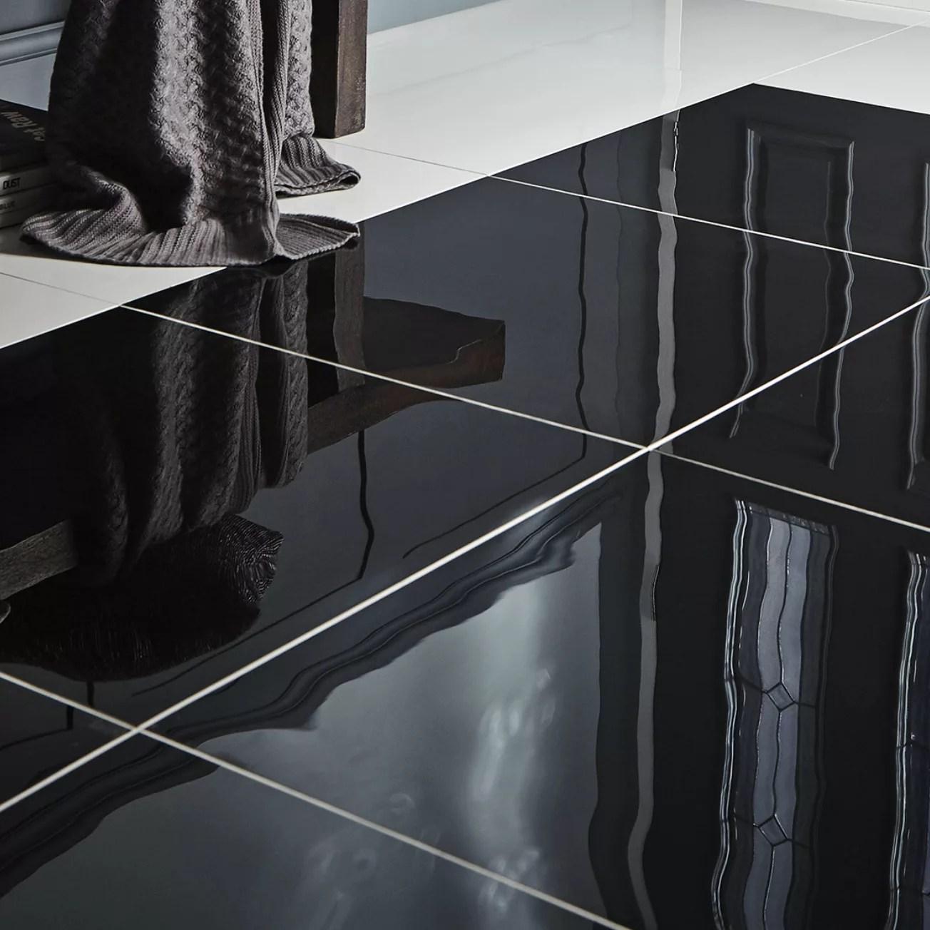 Livourne Black Polished Porcelain Floor tile Pack of 3