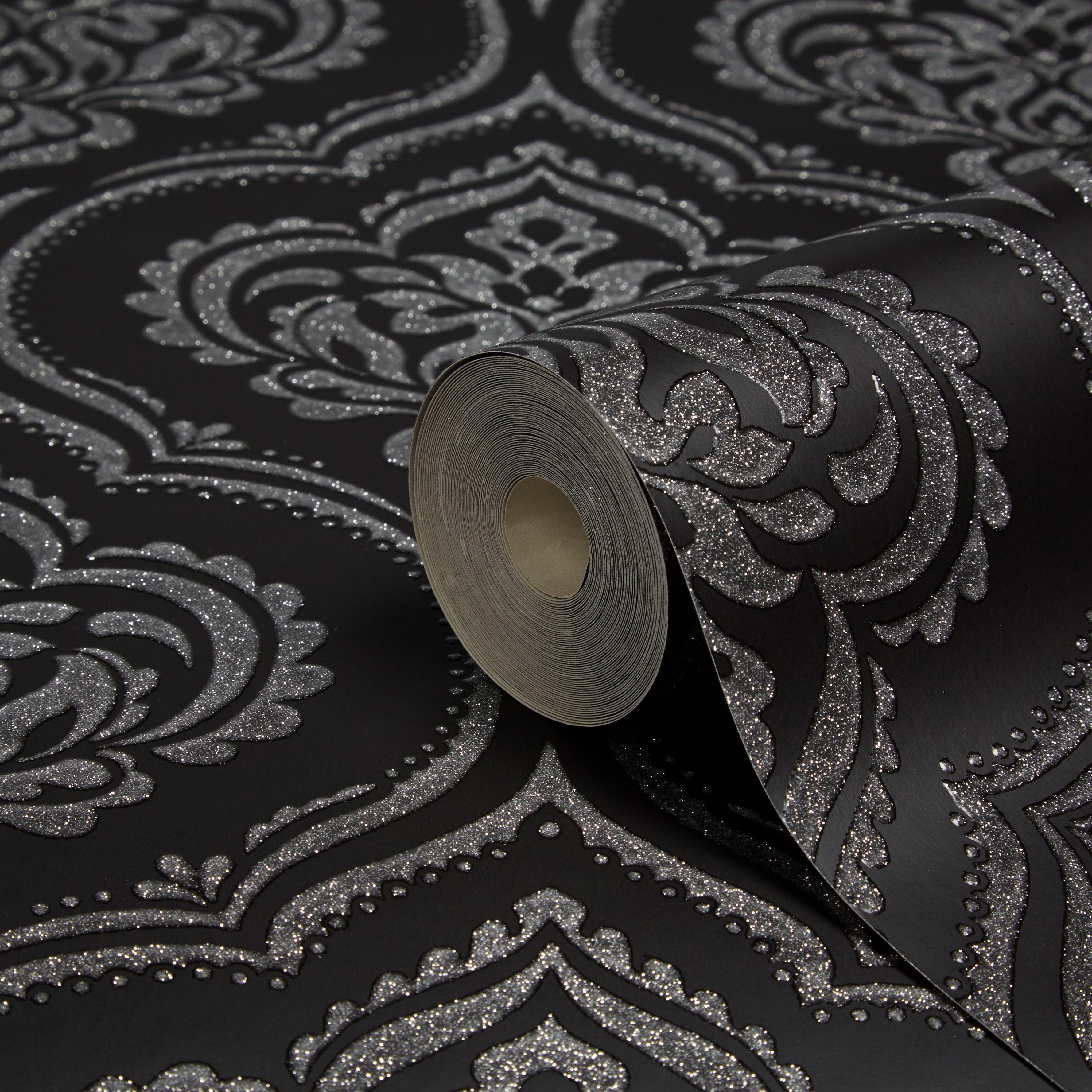 Fine Dcor Ornamental Black Damask Glitter Effect