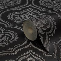 Fine Dcor Ornamental Black Damask Glitter Effect ...