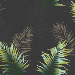 Palm Tree Kitchen Decor Country Door Knobs Fine Décor Kalani Black & Green Leaf Wallpaper ...