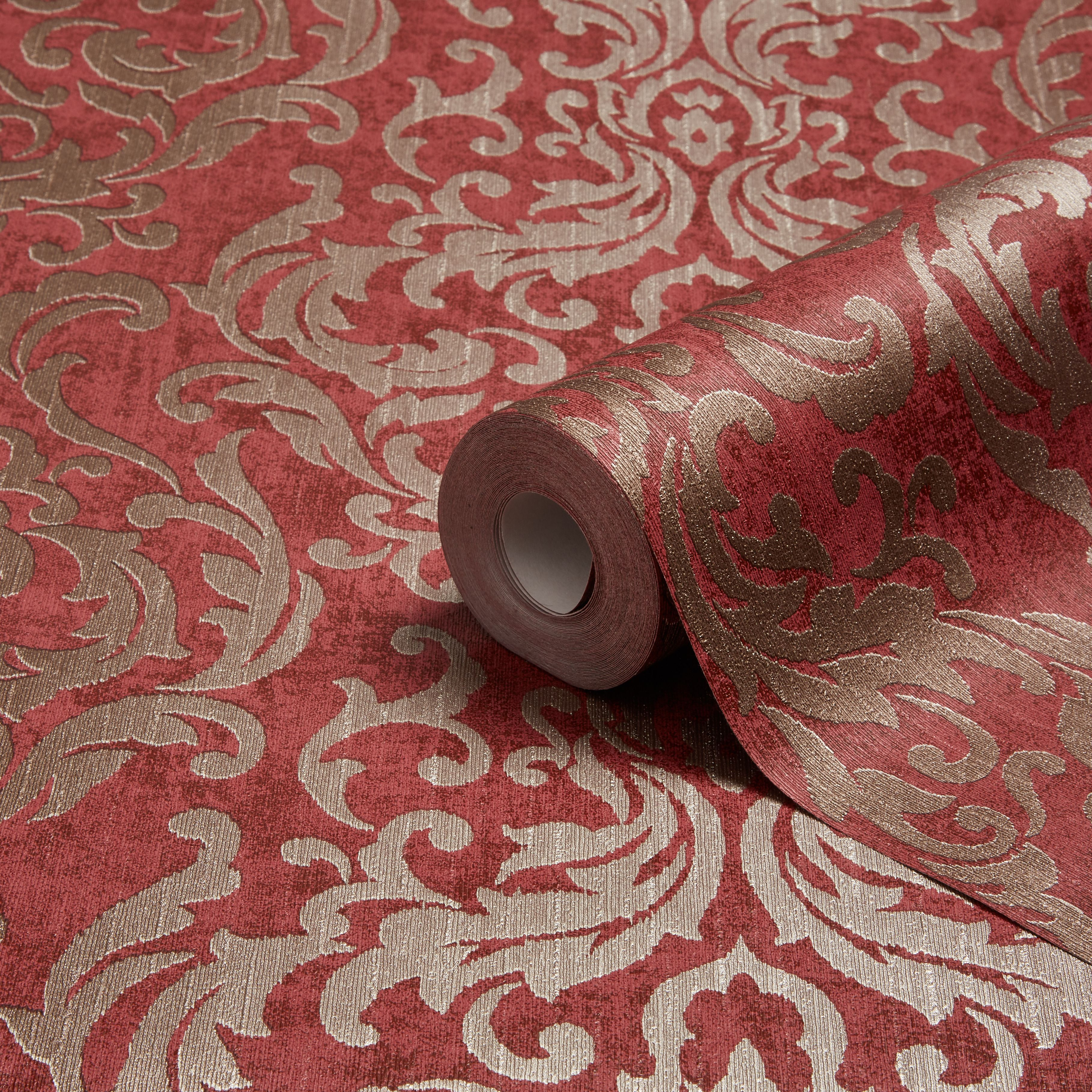 kitchen wallpaper ideas repair moen faucet graham & brown drama red damask | departments ...
