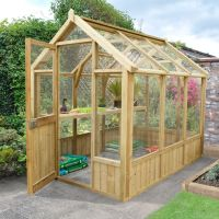 Forest Garden Vale Wooden 8X6 Toughened Glass Greenhouse ...