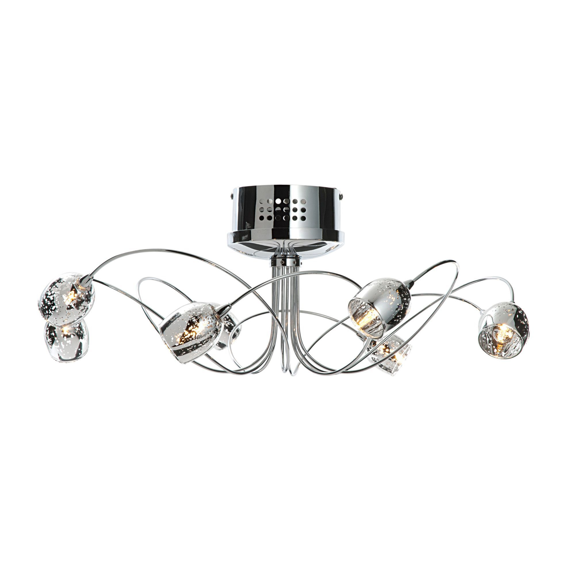 Aero Chrome Effect 8 Lamp Semi Flush Ceiling Light