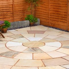 Outdoor Kitchens Kits Dual Kitchen Trash Can Fossil Buff Natural Sandstone Circle Paving Pack, 8.56 M² ...
