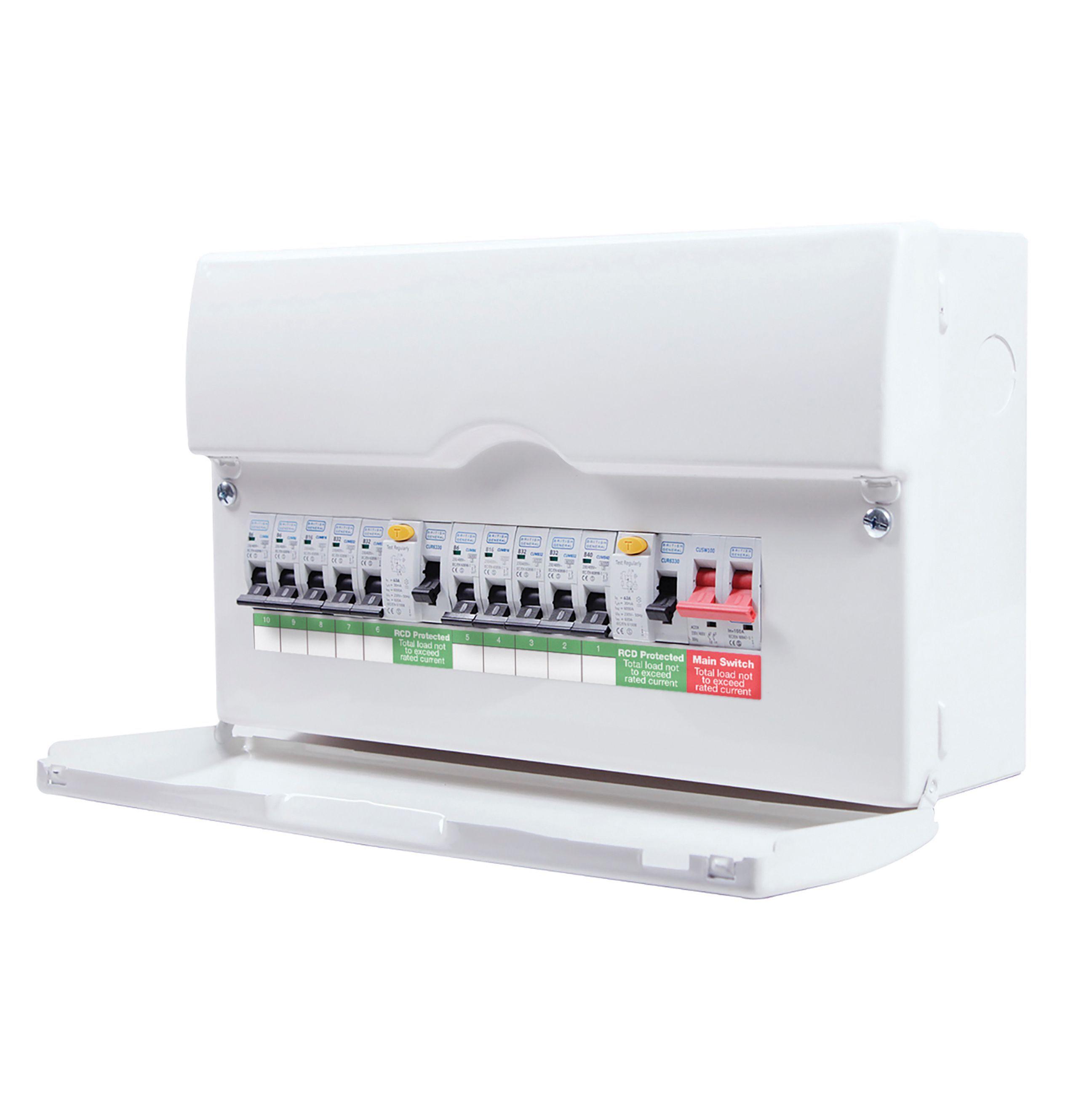 consumer unit wiring diagram split load vdo gauges diagrams oil pressure sender bg 100a 10 way metal enclosure departments