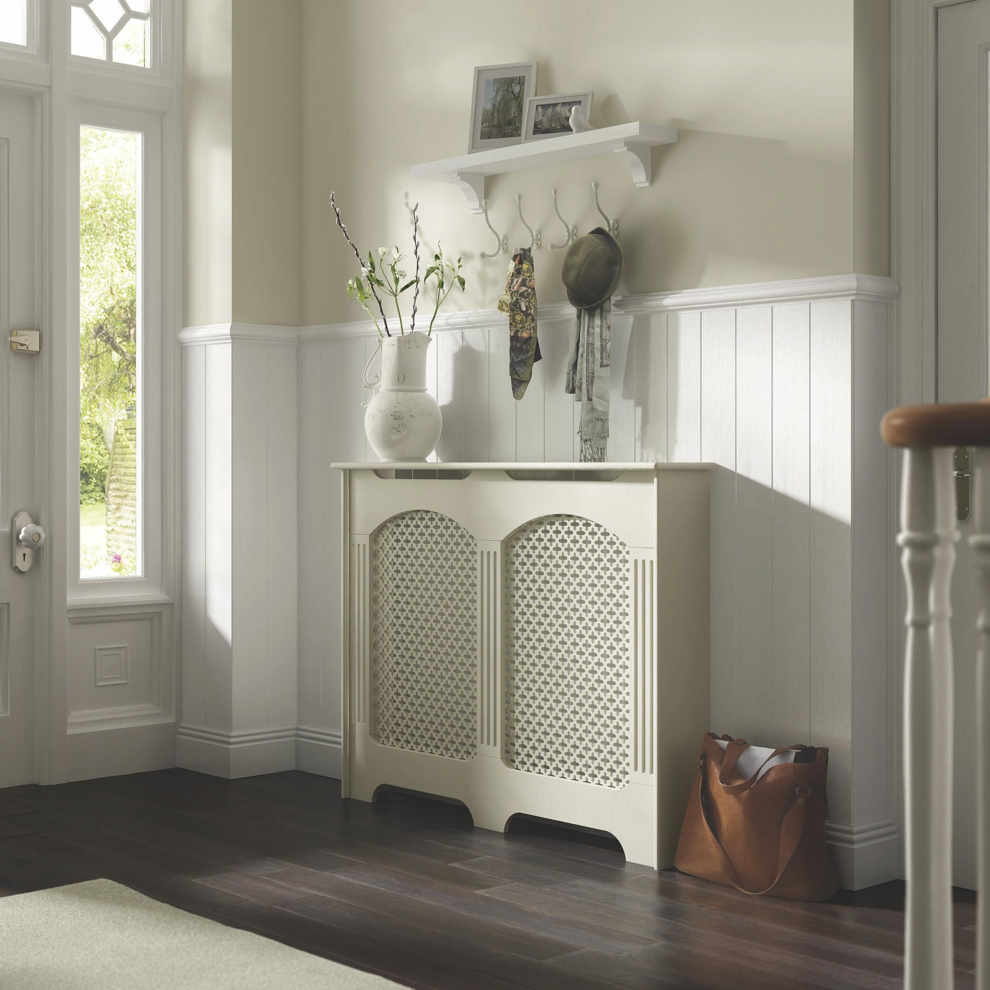 art deco kitchen chairs swivel vanity chair with back cambridge medium white painted radiator cover | departments diy at b&q