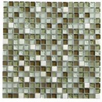 Green Glass & Marble Mosaic Tile, (L)300mm (W)300mm ...