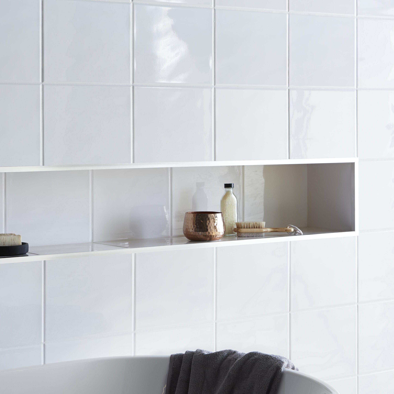 Holborn White Ceramic Wall Tile, Pack of 20, (L)250mm (W