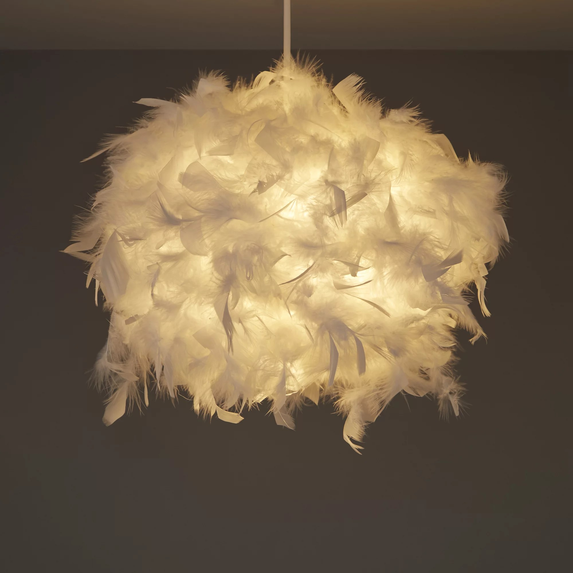 Colours Melito White Feather Ball Light Shade D250mm Departments DIY At BampQ