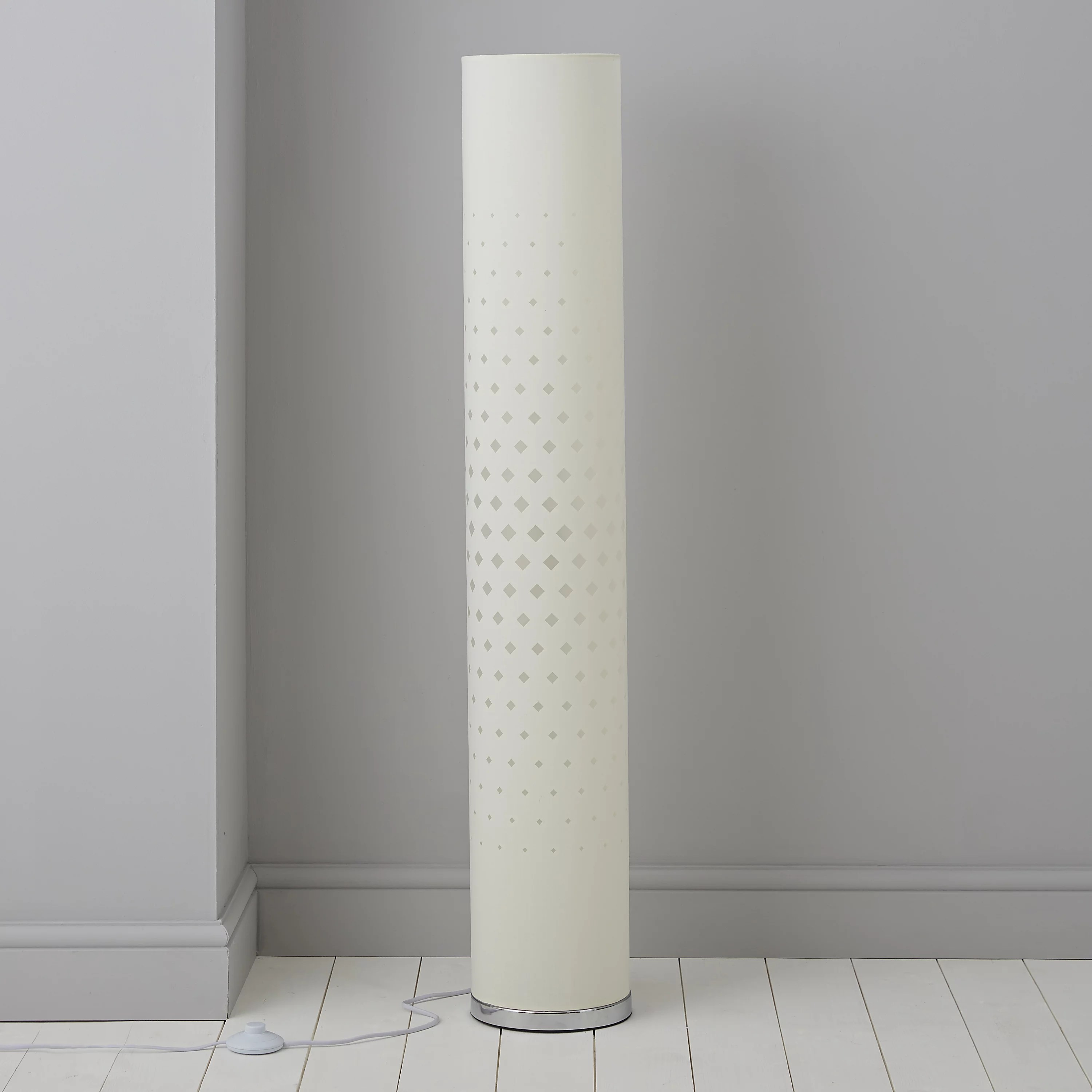 Teiger Cylinder Ivory Floor Lamp  Departments  TradePoint