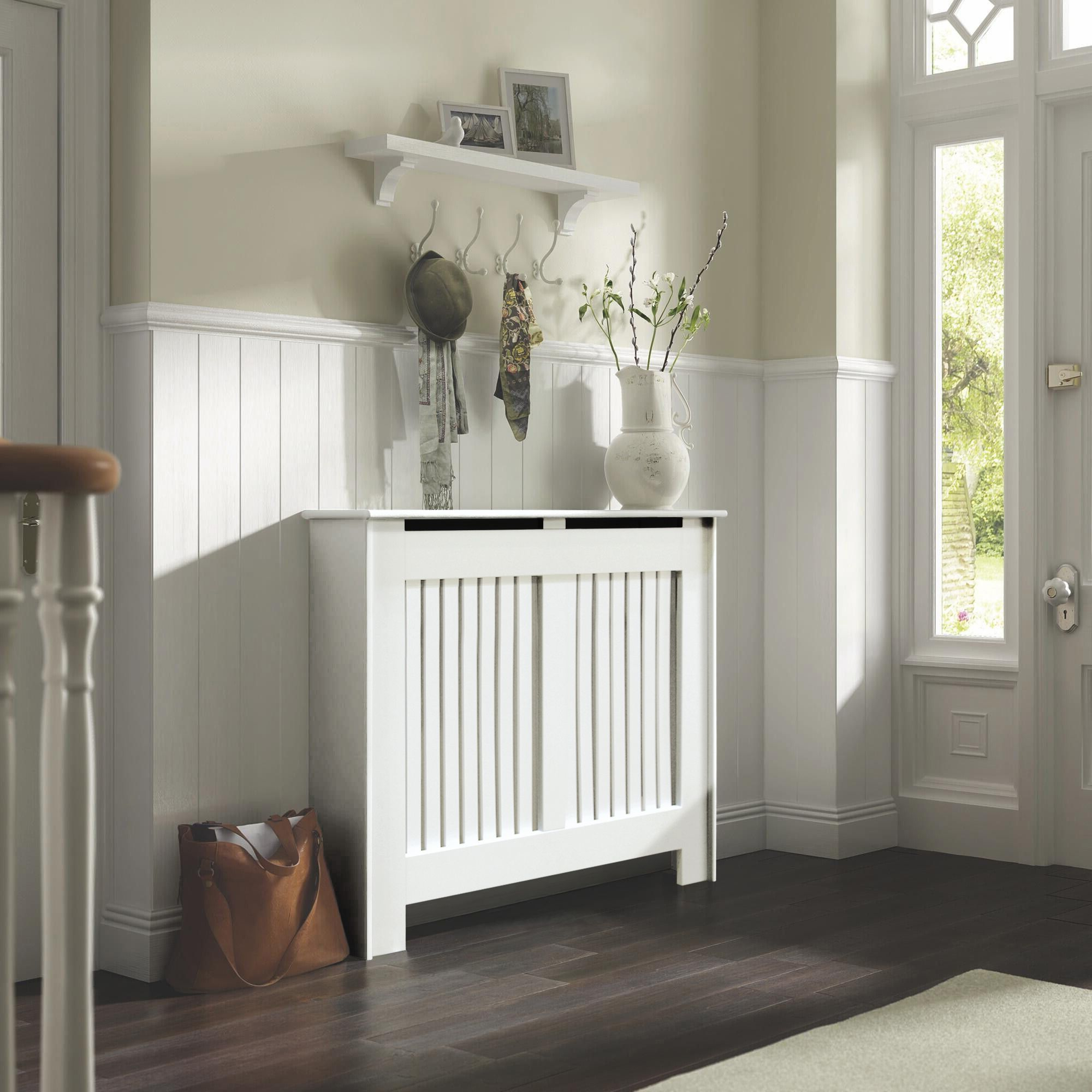 cast iron outdoor chairs hanging yoga chair kensington medium white painted radiator cover | departments diy at b&q