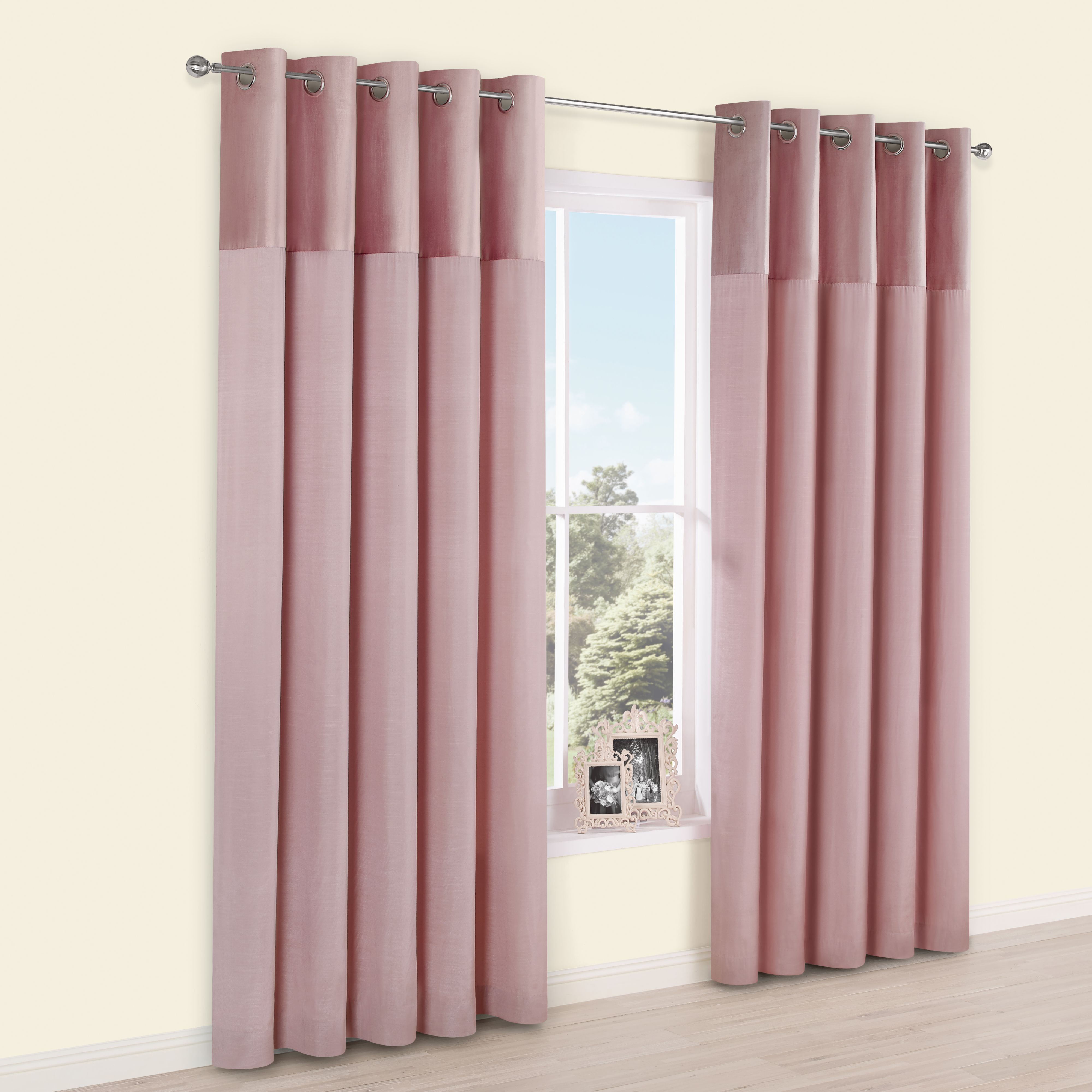 hot pink chairs baby alive high chair set linnet dusky panelled velvet & faux silk eyelet lined curtains (w)167 cm (l)183 ...