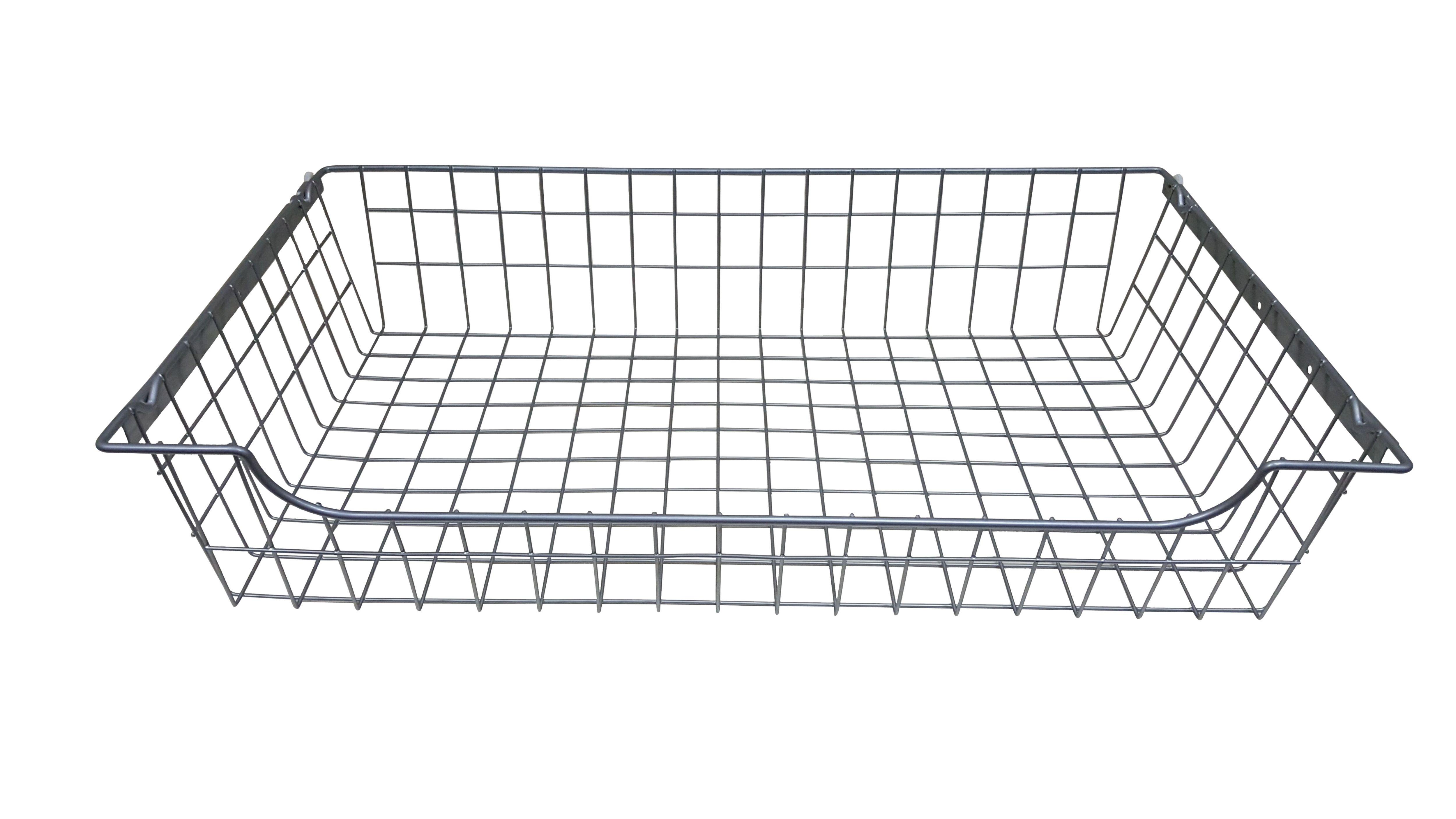 Perkin Wire Silver effect Iron Sliding Storage basket (H