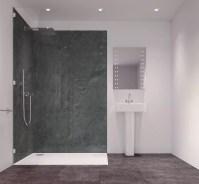 Splashwall Charcoal Single Shower Panel (L)2420mm (W)585mm ...