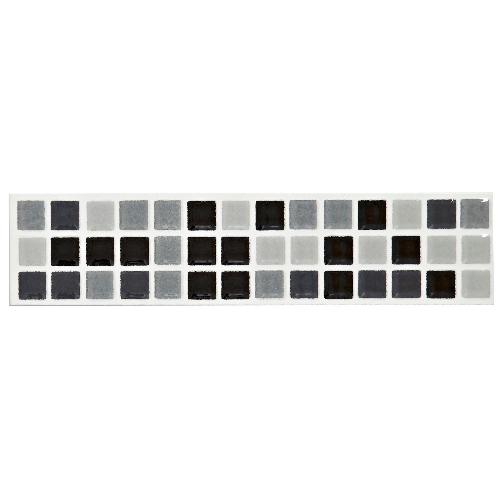 Mini Mosaic Black  White Mosaic Ceramic Border Tile L